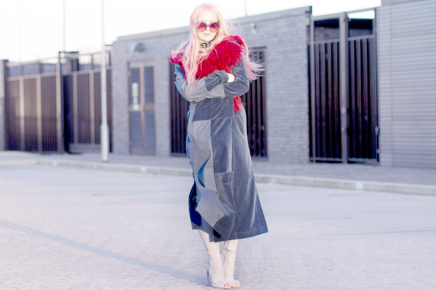 Marilyn Manson, Mechanical Animals, Triple Denim, Double Denim, Maxi Coat, Denim Coat, Red Shearling, Prada,