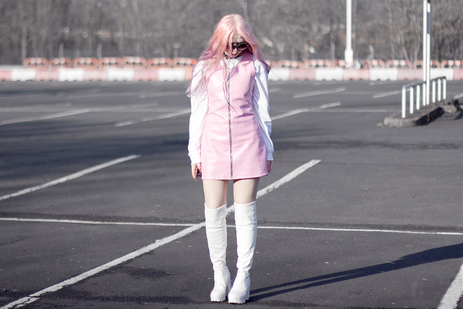 PASTEL PINK FAUX LEATHER DRESS