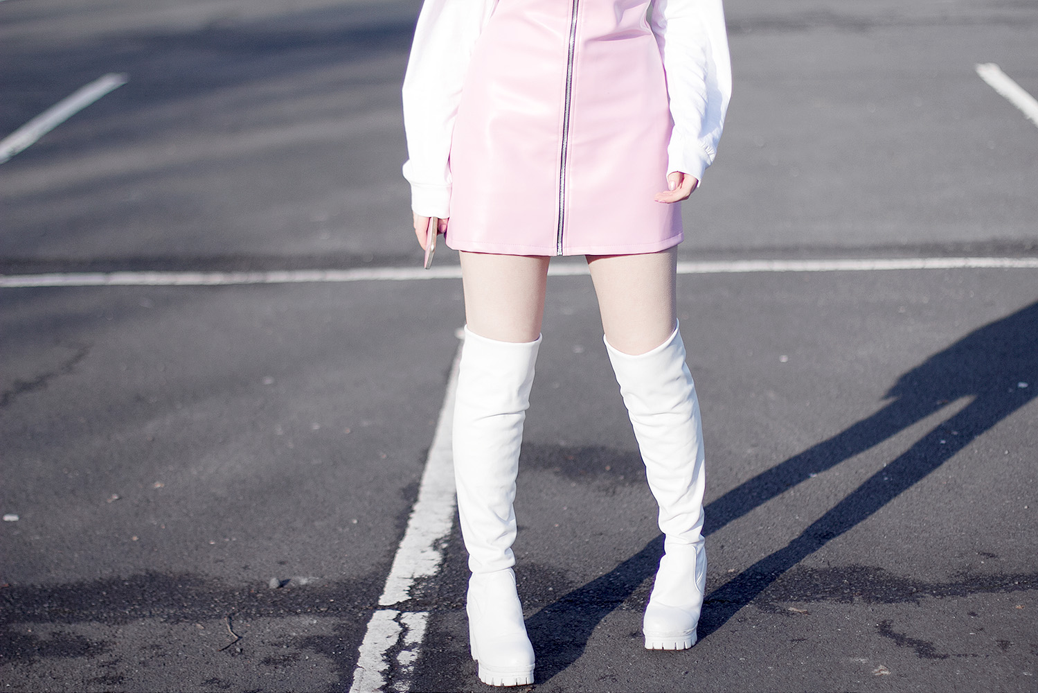 Pink faux leather dress, white over the knee boots, studded prada sunglasses, pastel girl, cute, pink and purple hair
