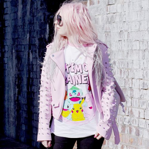 pokemon tshirt, pokemon trainer, pink pokemon, killstar studded jacket
