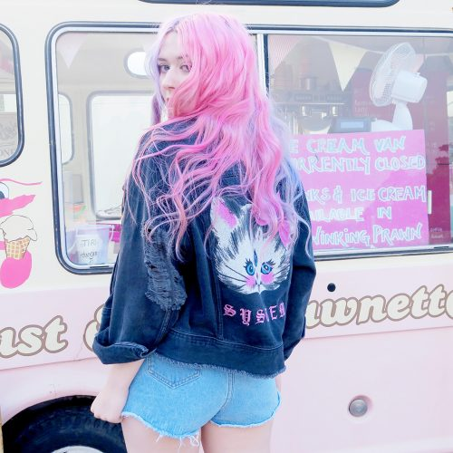 Vintage Icecream Van, Boohoo denim shorts, platform trainers, sequin shorts, pastel swimsuit
